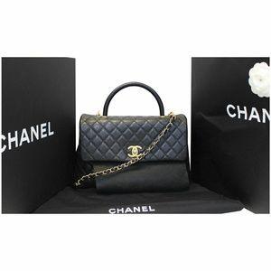 CHANEL Bags - CHANEL Medium Coco Handle Caviar Leather Bag Black